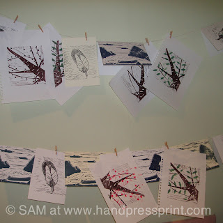 artists prints, trees, scotland, lino print, hand press print