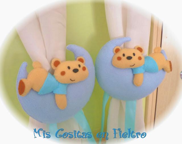 fieltro, decoración, sujetacortinas, bebé, oso, luna