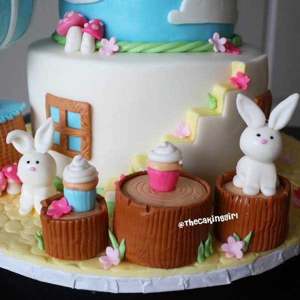 hot air balloon birthday cake bunnies