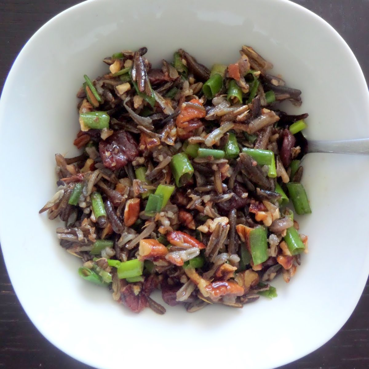 Wild Rice Cherry Pecan Salad:  A salad of wild rice, dried cherries, and pecans tossed in a raspberry vinaigrette.  It makes a great side dish or lunch.