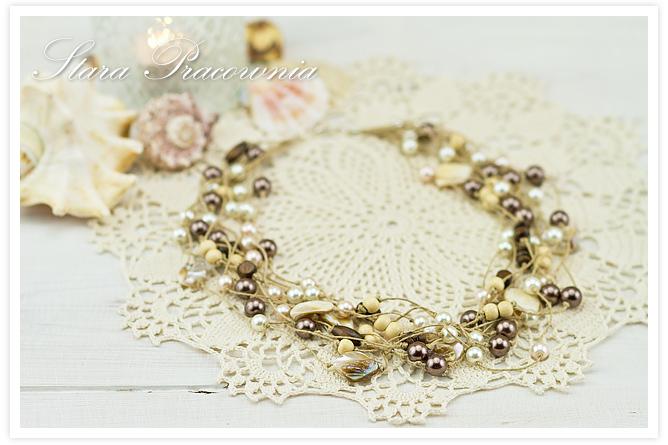 Korale, naszyjnik, korale z perłami, biżuteria autorska, korale hand made, rękodzieło, plecione korale