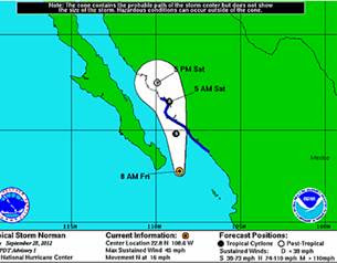 Trayectoria tormenta tropical Norman 28 de Septiembre 2012