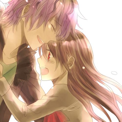 anime boy and girl hugging