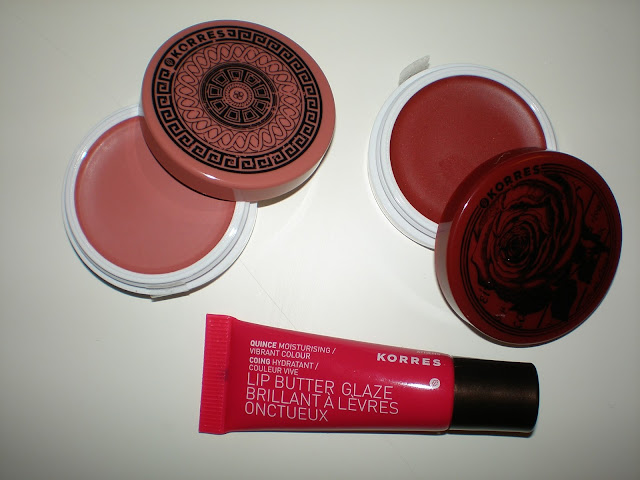 Korres Lips and Cheeks set: Lip Butter Glaze in Quince and Cheek Butters in Philia Rose and Chara Crimson
