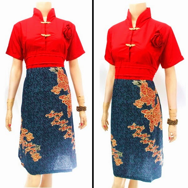 DB3790 Mode Baju Dress Batik Modern Terbaru 2014