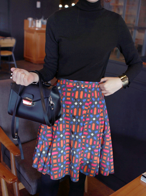 Multicolored Pattern Button-Front Skirt
