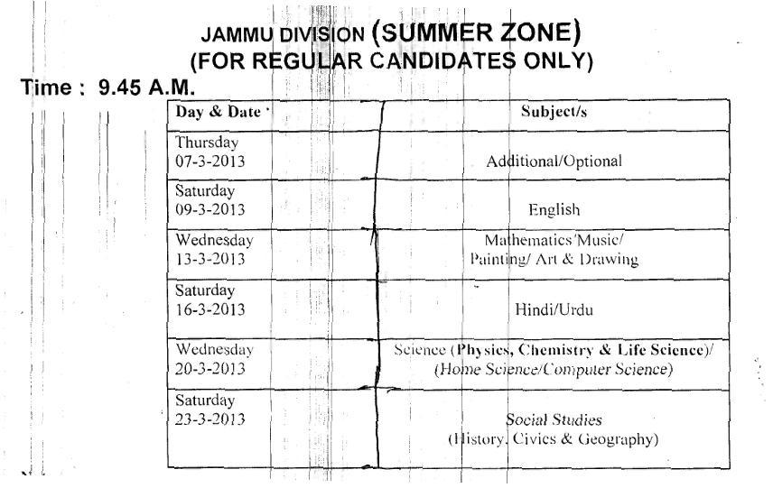 JKBOSE SSC 10th Class Exam 2013 Date Sheet/Time Table 2013