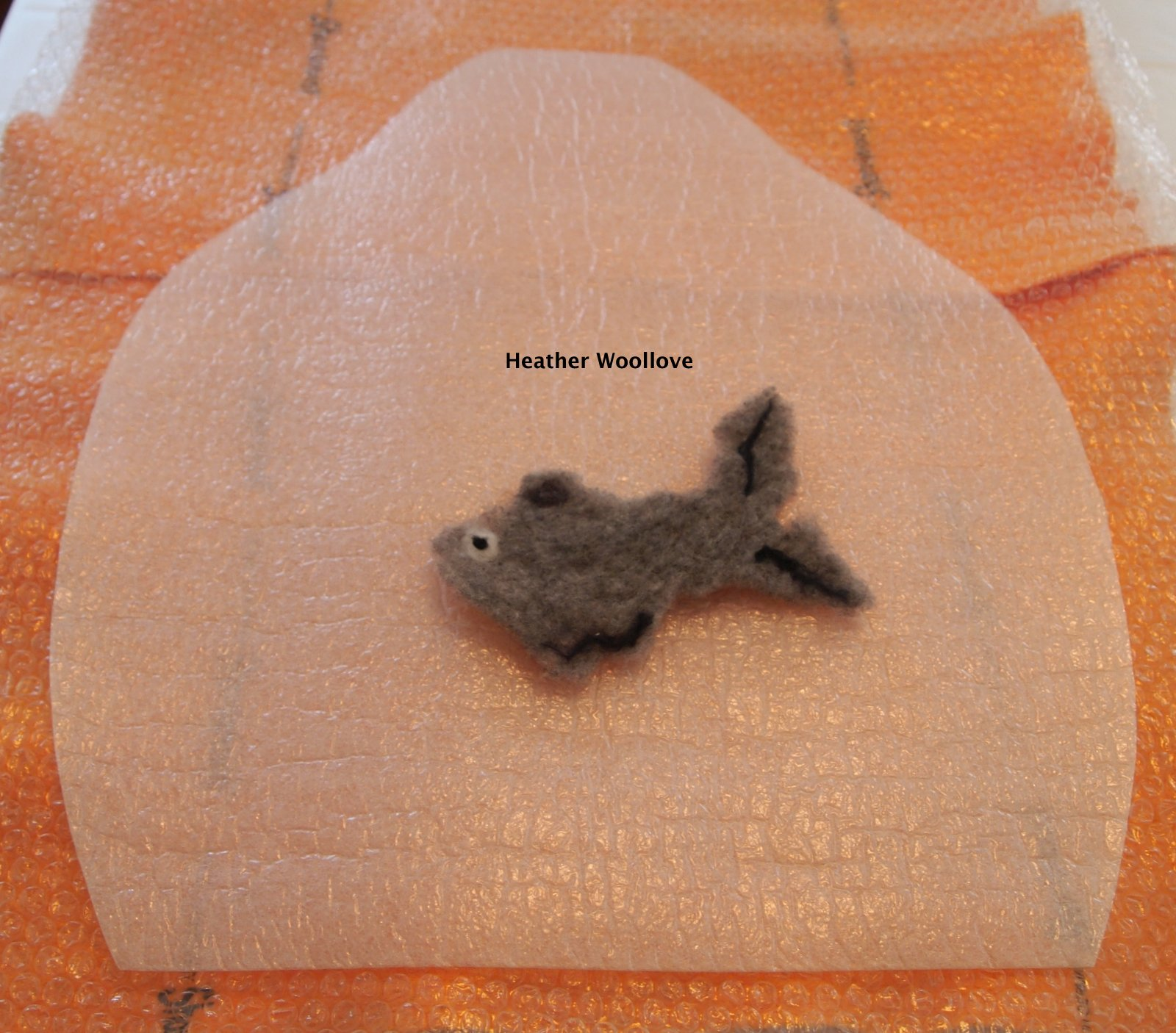 Wool love functional fiber art wet felted fish hat part for Fiber in fish