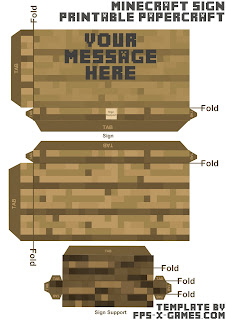 Minecraft papercraft your message here sign template cut out