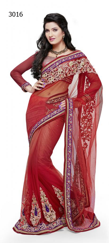 Letest Lengha type Saree-Online Shopping, Exclusive Designer Embroideries Resham Work Saree in Karnatka