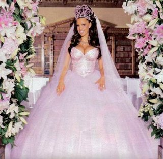 Jordan marriage Peter Andre wearing pink princess wedding dress
