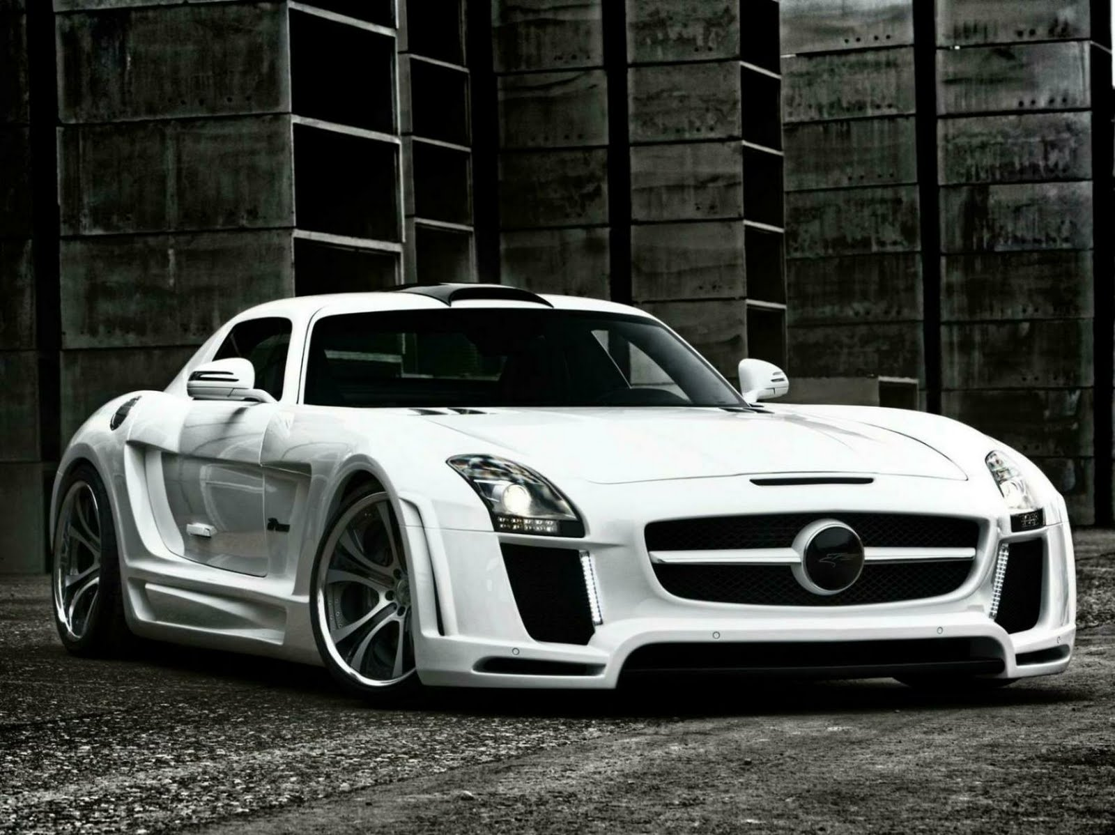 White Mercedes Benz Supercar Tuning Full HD Wallpaper