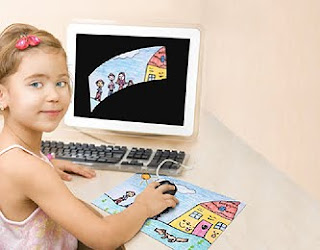 Child scanning a drawing