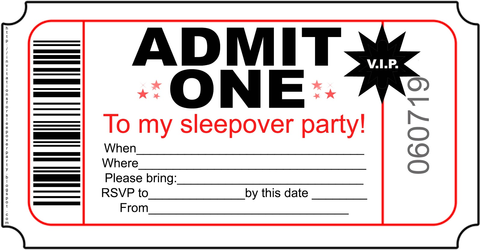Modest image for printable slumber party invitations