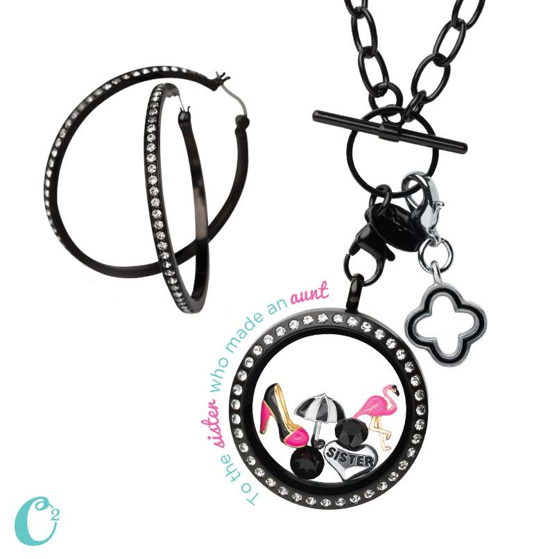 Black Matte and Rhinestone Locket and Hoop Earrings | Shop StoriedCharms.com