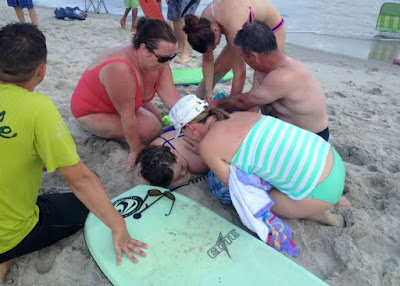 The shark attack happened at the beach in Oak Island, North Carolina.