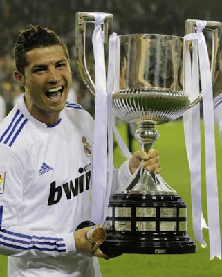 Cristiano Ronaldo holding the Spanish Cup Trophy 2011