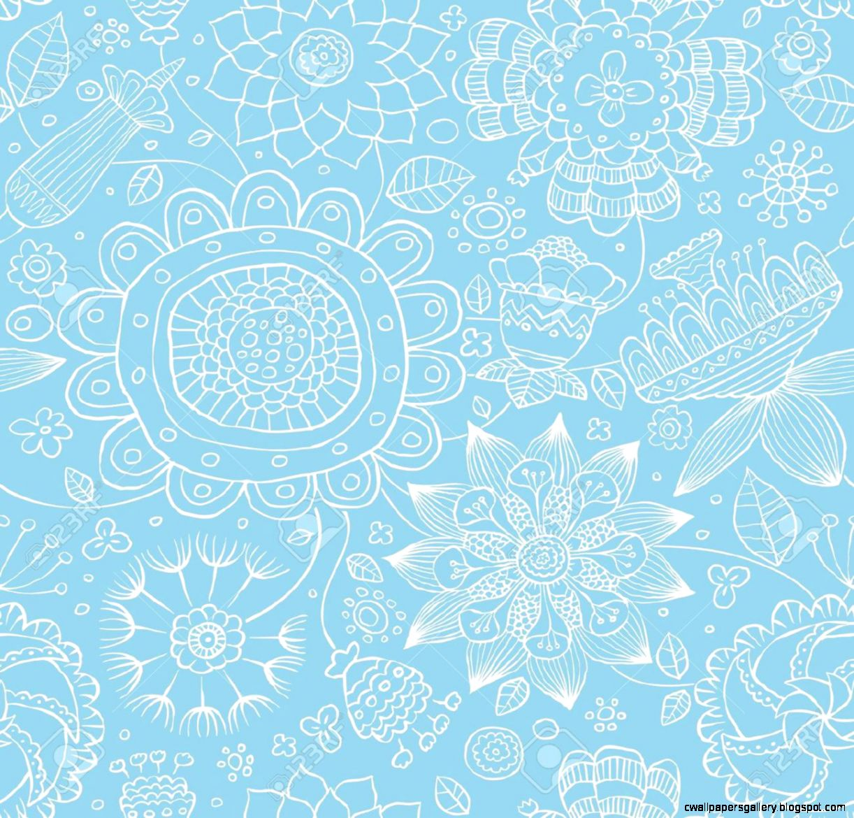 Seamless Fl Pattern On A Blue Background Vector Royalty Free