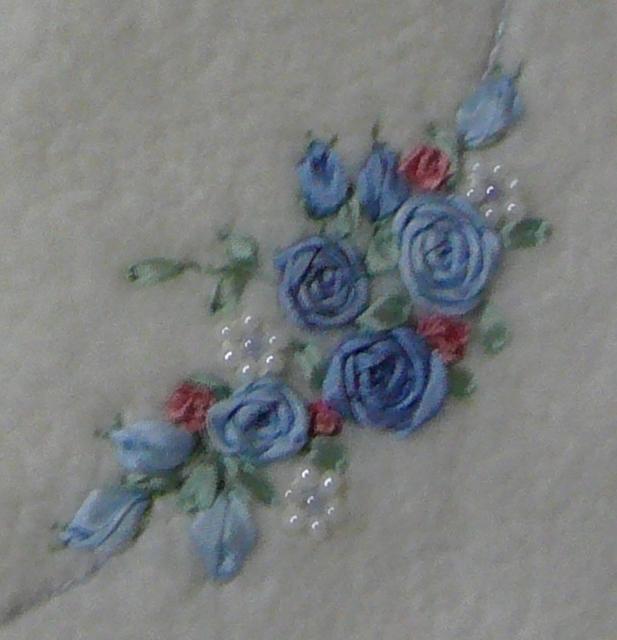 Silk ribbon embroidery rose loveheart blanket