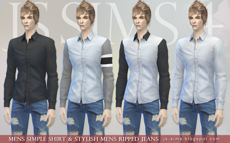 4 Sims amp; Stylish Shirt Jeans Simple Js Mens Ripped S1qHw