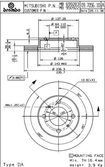 Brake Disc Proton WIRA, PERSONA (09.7056.10)