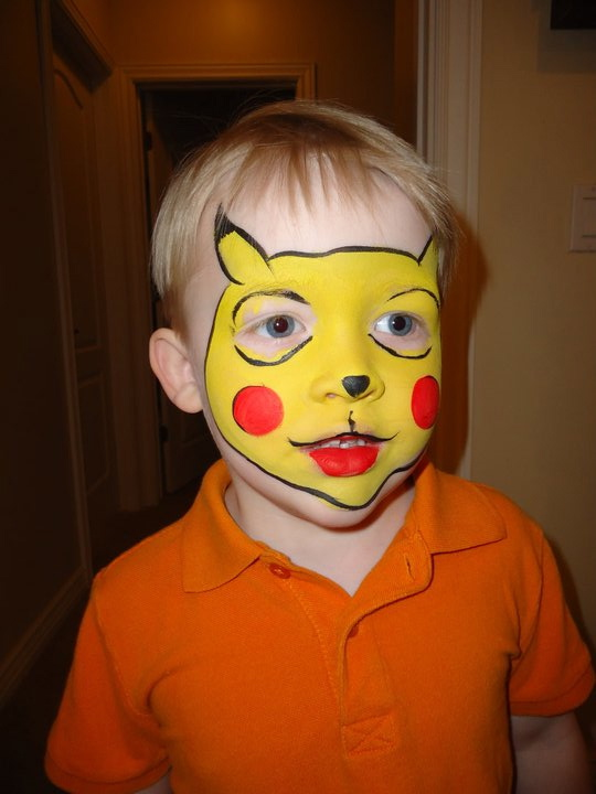 Pikachu Face Paint http://facepaintingillusions.blogspot.com/2011/06/party-planning-and-entertainment-at-its.html