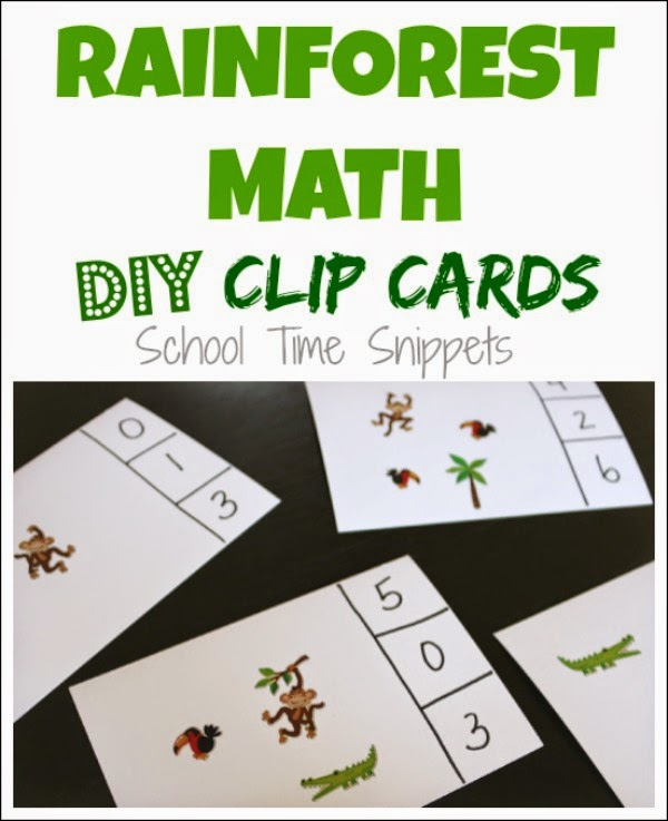 preschool rainforest lesson plans make your own diy counting clip cards school time snippets 835