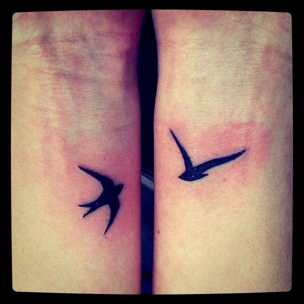 swallows, design by me, tattooed by j. boulger