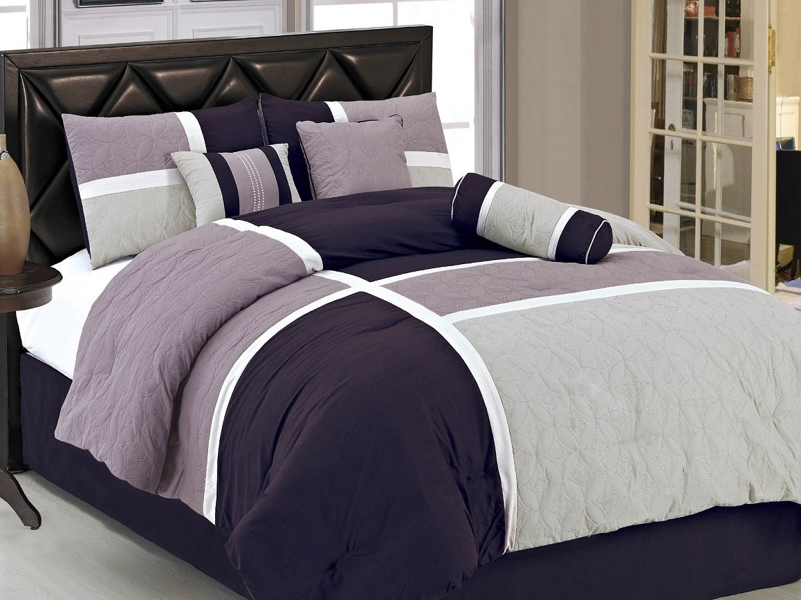 grey and purple comforter bedding sets. Black Bedroom Furniture Sets. Home Design Ideas