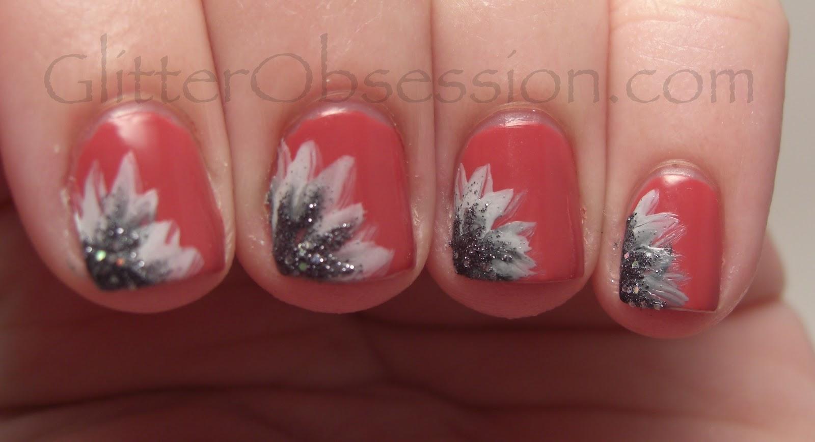 Glitter Obsession White And Black Heart Flower Nail Art