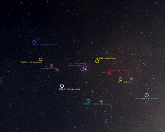 Constelacion de Casiopea - Objetos celestes - El cielo de Rasal
