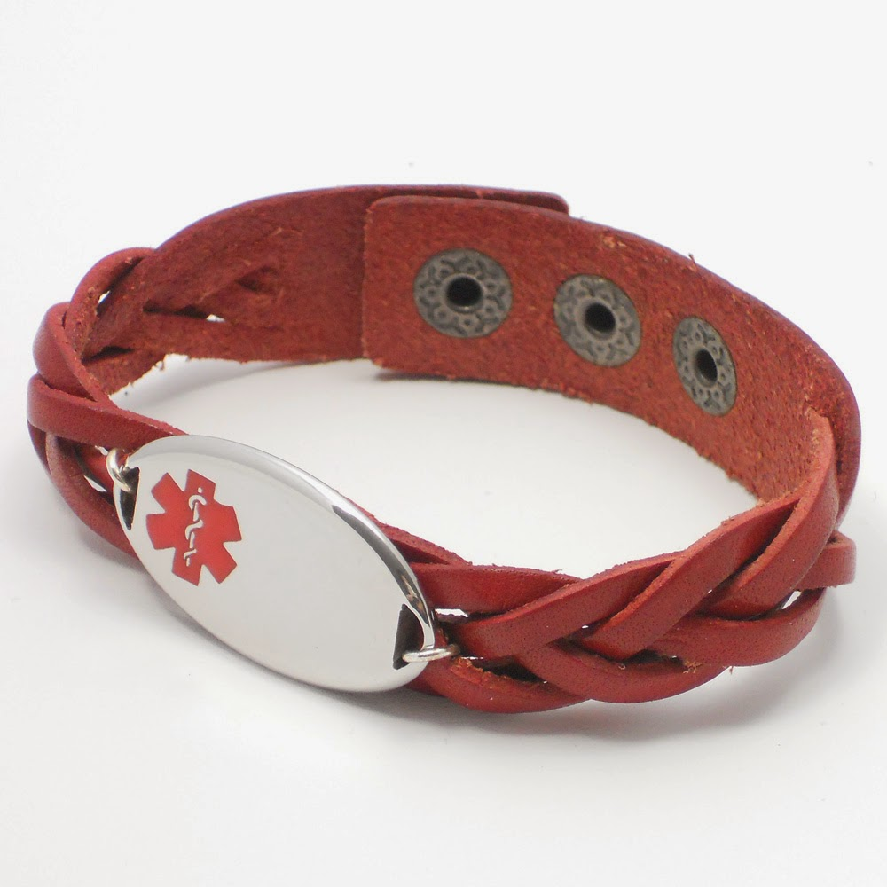 Red Braided Leather ID Bracelet