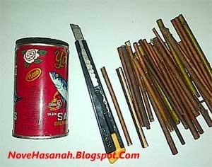 prakarya kerajinan tangan tempat pensil dari kaleng bekas sarden dan ranting kering