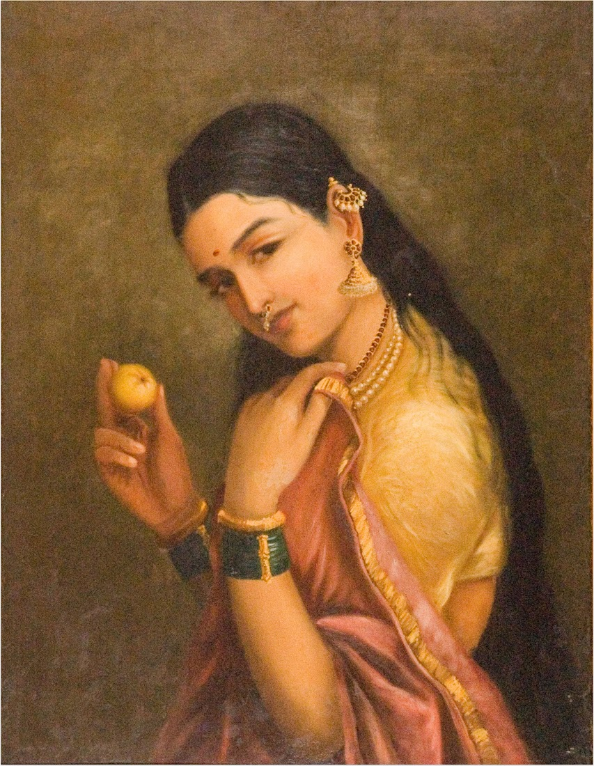 Woman Holding a Fruit by Raja Ravi Varma - Late 19th Century