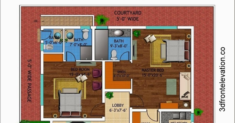 3d front 1 kanal house drawing floor for One kanal house plan