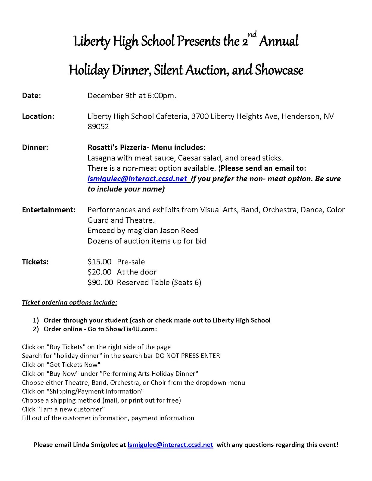 Sound of Liberty Bands Announcements: Holiday Dinner and Silent ...