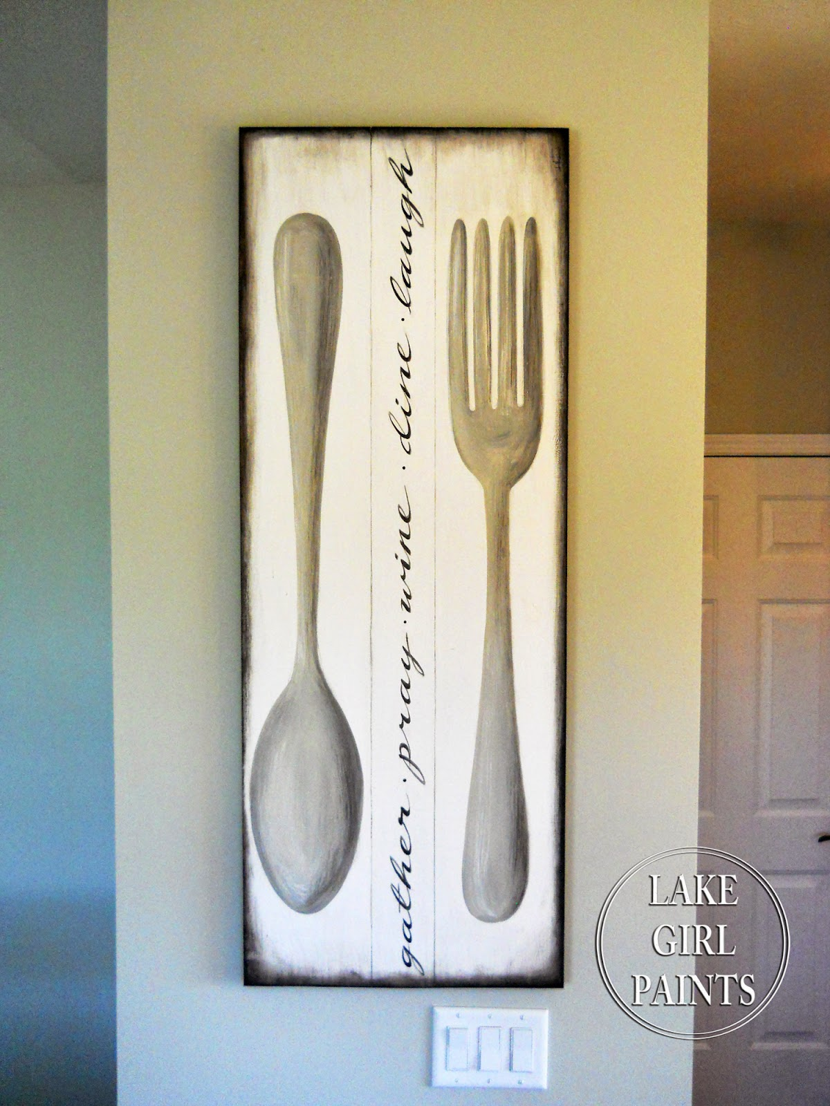 Lake girl paints making dining room wall art for Dining wall painting
