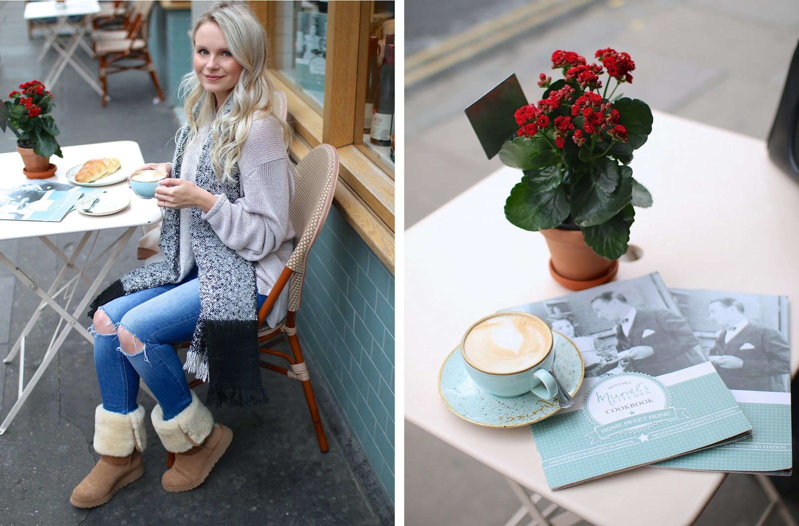 pretty menus for a london restaurant, with a blogger sitting outside sipping on coffee
