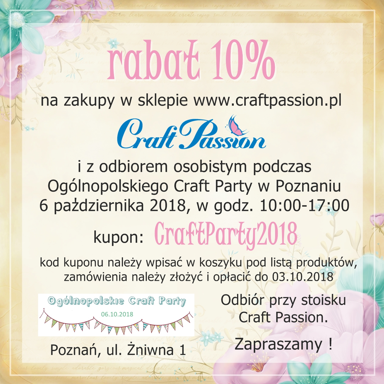 Craft Party Poznań 6.10.2018