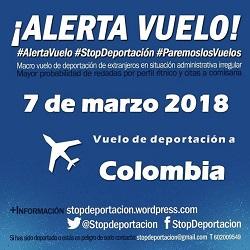 7/març. Alerta Vol a Colòmbia