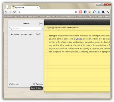 quick note aplicativo para chrome que disponibiliza anotações em um bloco de notas