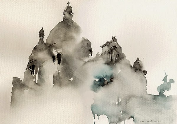 Unfinished water colour picture of Sacre Coeur, Paris