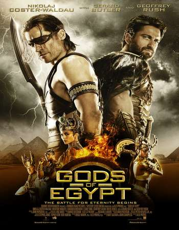 Poster Of Gods of Egypt 2016 Dual Audio 140MB  HEVC Mobile  Free Download Watch Online Worldfree4u