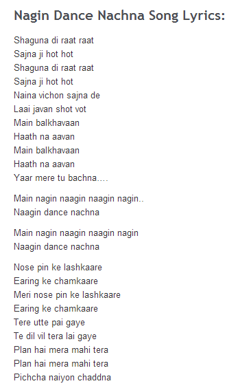 Nagin Dance Song Lyrics