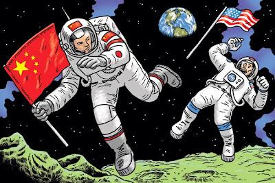 Carrera espacial, astronautas y NASA caricatura