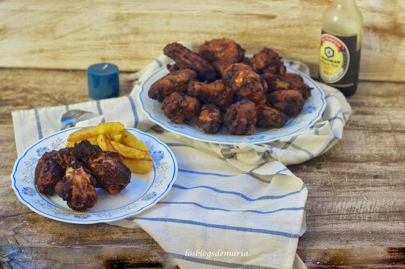 Alitas de pollo fritas a la miel, limón y soja
