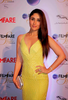 Kareena Kapoor in Deep neck Yellow Gown at CIROC Filmfare Glamorous and Style Awards 2015 in Mumbai