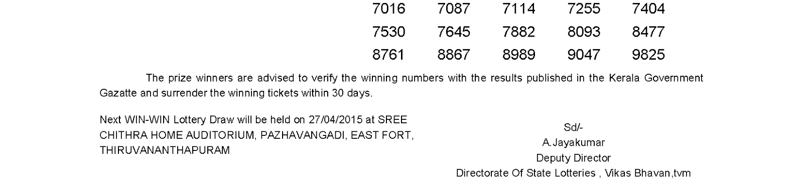 WIN WIN Lottery W 304 Result 20-4-2015