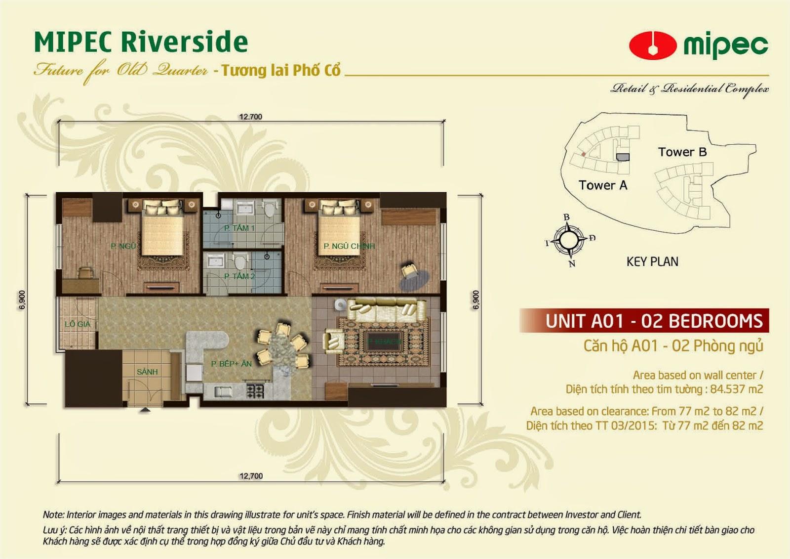Căn 01 - 84m Mipec Riverside
