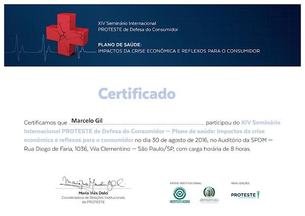 CERTIFICADO DE PARTICIPAÇÃO EM SEMINÁRIO DA ASSOCIAÇÃO BRASILEIRA DE DEFESA DO CONSUMIDOR - 2016